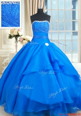 Wonderful Strapless Laced Bust and Beaded Top Quinceanera Dress in Organza