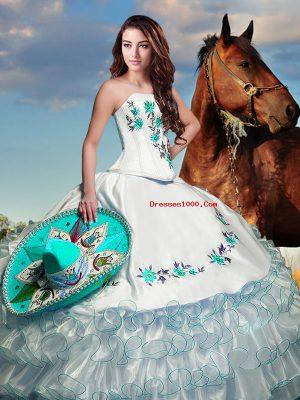 Elegant Floor Length White 15 Quinceanera Dress Taffeta Sleeveless Embroidery and Ruffled Layers