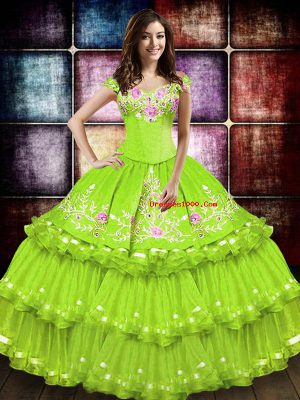 Embroidery and Ruffled Layers Sweet 16 Dress Yellow Green Lace Up Sleeveless Floor Length