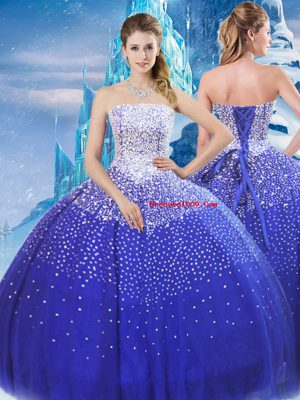 Beautiful Floor Length Ball Gowns Sleeveless Blue Quinceanera Gown Lace Up