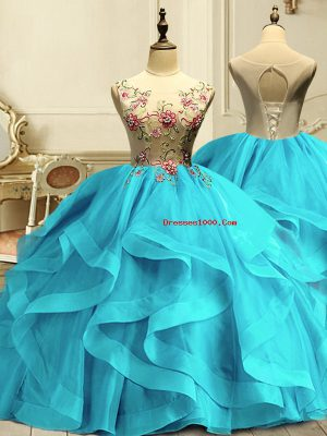 Adorable Aqua Blue Ball Gowns Organza Scoop Sleeveless Appliques and Ruffles Floor Length Lace Up Sweet 16 Quinceanera Dress