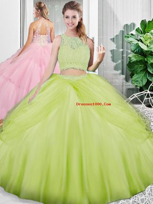 Captivating Sleeveless Lace Up Floor Length Lace and Ruching Sweet 16 Quinceanera Dress
