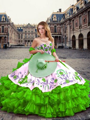 Captivating Green Ball Gowns Embroidery and Ruffled Layers 15 Quinceanera Dress Lace Up Organza Sleeveless Floor Length