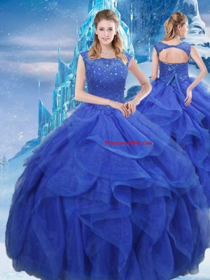 Organza Sleeveless Floor Length Sweet 16 Dress and Ruffles and Sequins