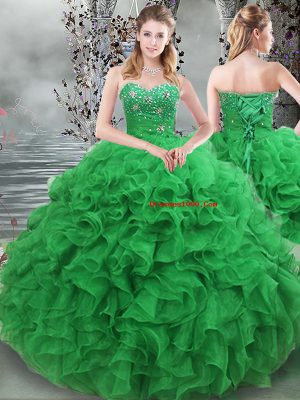 Fitting Green Sleeveless Organza Lace Up Quinceanera Dresses for Military Ball and Sweet 16