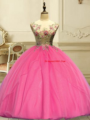 Popular Rose Pink Ball Gowns Appliques Quinceanera Dress Lace Up Organza Sleeveless Floor Length