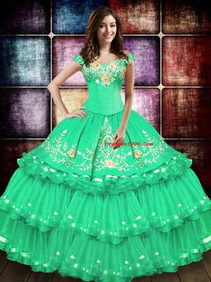 Fancy Turquoise Ball Gowns Taffeta Off The Shoulder Sleeveless Embroidery and Ruffled Layers Floor Length Lace Up Quinceanera Dresses