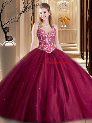 Luxury Burgundy Lace Up Spaghetti Straps Beading and Lace and Appliques Sweet 16 Quinceanera Dress Tulle Sleeveless
