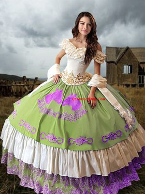 Multi-color Off The Shoulder Neckline Embroidery and Ruffled Layers Quinceanera Dress Sleeveless Lace Up