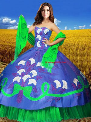Multi-color Lace Up Sweetheart Embroidery Ball Gown Prom Dress Taffeta Sleeveless
