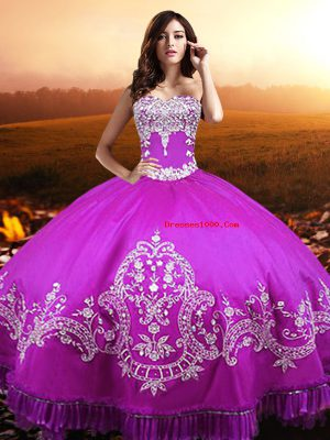 Fuchsia Taffeta Lace Up Sweetheart Sleeveless Floor Length Ball Gown Prom Dress Beading and Appliques