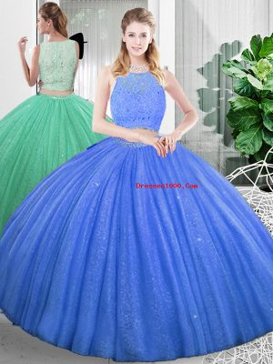 Fitting Floor Length Two Pieces Sleeveless Baby Blue Quinceanera Dresses Zipper