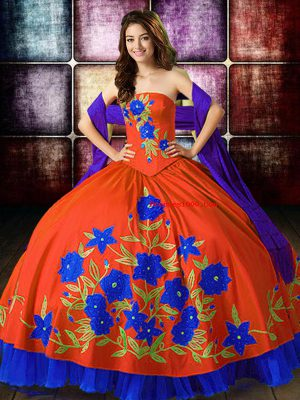 Discount Multi-color Lace Up Quinceanera Dresses Embroidery Sleeveless Floor Length