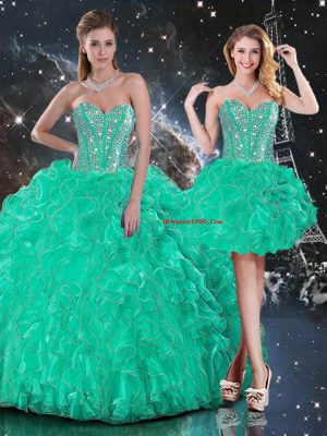 Edgy Sweetheart Sleeveless Lace Up Quinceanera Dresses Turquoise Organza