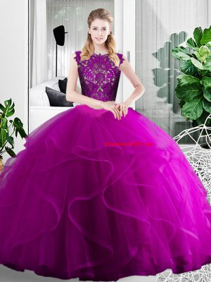 Captivating Fuchsia Scoop Zipper Lace and Ruffles Vestidos de Quinceanera Sleeveless