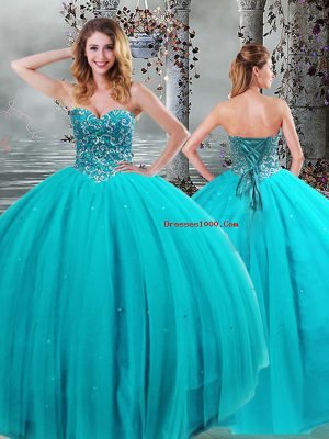 Sweetheart Sleeveless Tulle 15 Quinceanera Dress Beading Lace Up