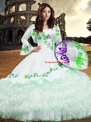 Floor Length Ball Gowns Long Sleeves White 15 Quinceanera Dress Lace Up