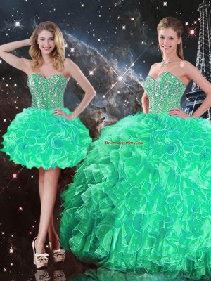 Fantastic Turquoise Organza Lace Up Sweet 16 Quinceanera Dress Sleeveless Floor Length Beading and Ruffles