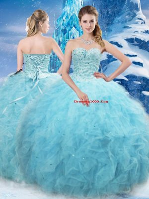 Chic Aqua Blue Ball Gowns Tulle Sweetheart Sleeveless Beading and Pick Ups Floor Length Lace Up Sweet 16 Dress