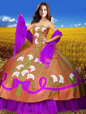 Attractive Multi-color Sleeveless Embroidery Floor Length Sweet 16 Quinceanera Dress