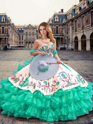 Turquoise Quinceanera Dresses Military Ball and Sweet 16 and Quinceanera with Embroidery and Ruffled Layers Sweetheart Sleeveless Lace Up