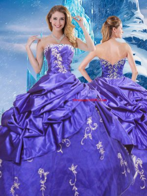 Affordable Taffeta Strapless Sleeveless Zipper Appliques and Pick Ups Quinceanera Dress in Purple