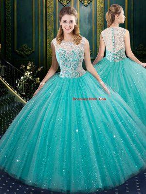 Aqua Blue Ball Gowns Tulle High-neck Sleeveless Lace Floor Length Zipper 15th Birthday Dress