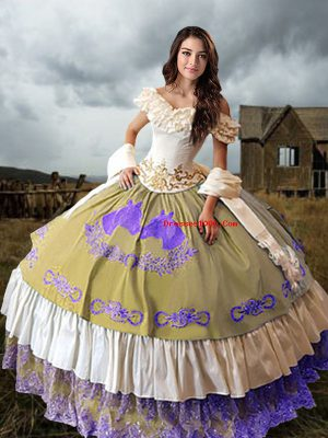 Beautiful Multi-color Off The Shoulder Neckline Embroidery and Ruffled Layers Vestidos de Quinceanera Sleeveless Lace Up