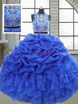 Floor Length Royal Blue 15 Quinceanera Dress Organza Sleeveless Beading and Ruffles and Pick Ups