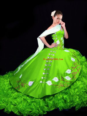 New Style Ball Gowns Organza Sweetheart Sleeveless Embroidery and Ruffles Lace Up Sweet 16 Quinceanera Dress Brush Train