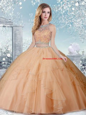 Designer Scoop Sleeveless Clasp Handle Quinceanera Gowns Champagne Tulle