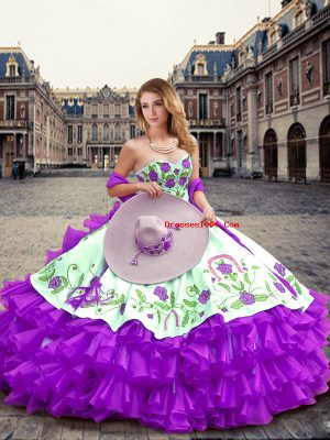 Excellent Floor Length Eggplant Purple Quinceanera Gowns Sweetheart Sleeveless Lace Up