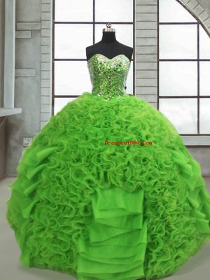 Amazing Sweetheart Sleeveless Lace Up Quince Ball Gowns Green Organza