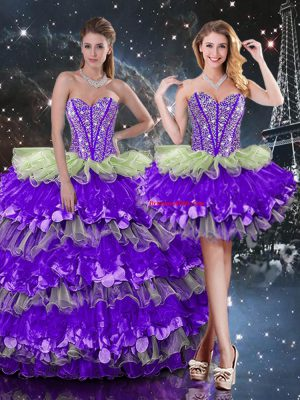 Fantastic Beading and Ruffles and Ruffled Layers Quinceanera Gown Multi-color Lace Up Sleeveless Floor Length