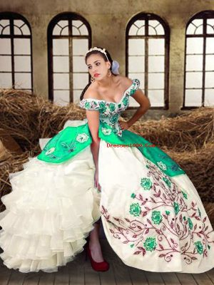 Multi-color Lace Up 15 Quinceanera Dress Embroidery and Ruffled Layers Sleeveless Floor Length