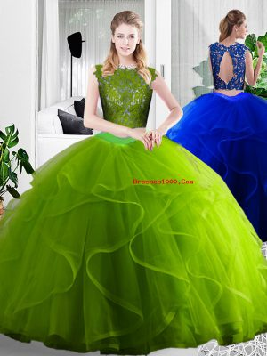 Exceptional Olive Green Zipper 15 Quinceanera Dress Lace and Ruffles Sleeveless Floor Length