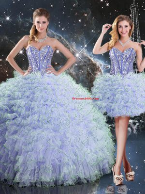 Lavender Quinceanera Dresses Military Ball and Sweet 16 and Quinceanera with Beading and Ruffles Sweetheart Sleeveless Lace Up