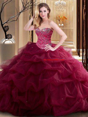 Super Sleeveless Lace Up Floor Length Beading and Ruffles 15th Birthday Dress