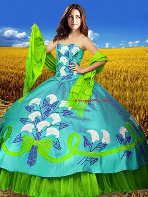 Sleeveless Floor Length Embroidery Lace Up Quince Ball Gowns with Multi-color