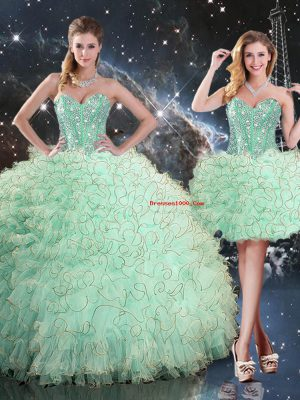 Floor Length Apple Green Quinceanera Gown Organza Sleeveless Beading and Ruffles