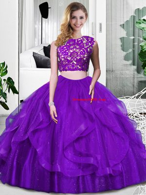Modern Purple Zipper Scoop Lace and Ruffles Quinceanera Dresses Tulle Sleeveless