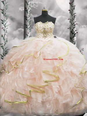 Beautiful Peach Lace Up Sweetheart Beading and Ruffles Vestidos de Quinceanera Organza Sleeveless Brush Train
