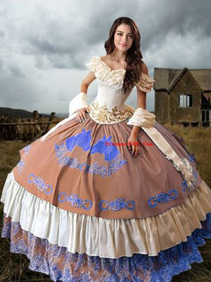 Inexpensive Multi-color Sleeveless Embroidery and Ruffled Layers Lace Up Ball Gown Prom Dress