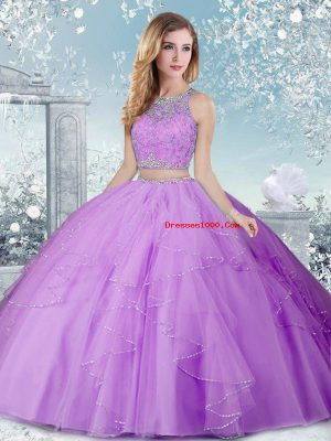 Suitable Lavender Scoop Neckline Beading Quinceanera Dress Sleeveless Clasp Handle