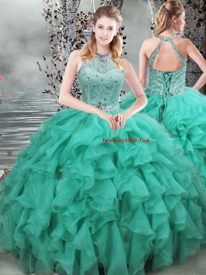 Scoop Sleeveless Quinceanera Gown Brush Train Beading and Ruffles Turquoise Organza