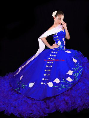 Royal Blue Sleeveless Brush Train Embroidery Sweet 16 Quinceanera Dress