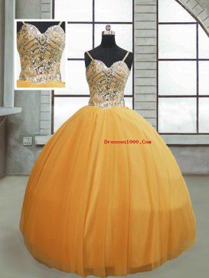 Custom Made Beading 15th Birthday Dress Gold Lace Up Sleeveless Floor Length
