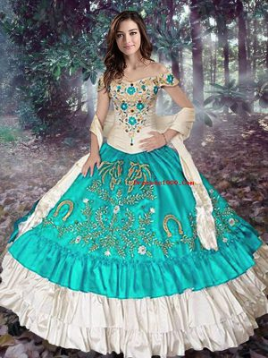 Sleeveless Elastic Woven Satin Floor Length Lace Up Quince Ball Gowns in Blue And White with Embroidery and Ruffled Layers