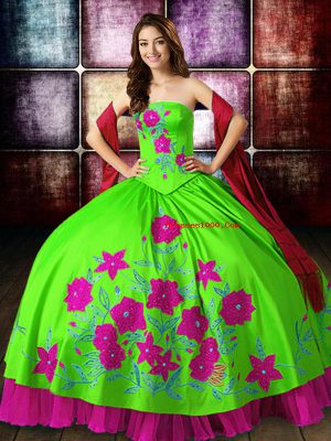 Perfect Multi-color Strapless Neckline Embroidery Ball Gown Prom Dress Sleeveless Lace Up