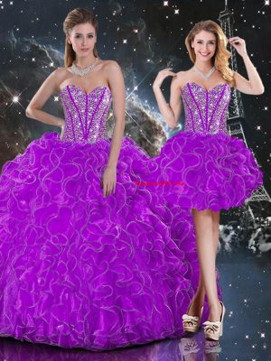 Charming Sweetheart Sleeveless 15 Quinceanera Dress Floor Length Beading and Ruffles Purple Organza